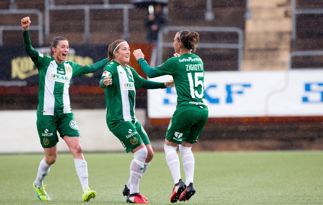 4 juni, K/Göteborg-HIF 3-3 Ett av säsongens bottennapp följdes upp med vårens höjdpunkt, ihop med segern mot Rosengård. Pausunderläget med tre mål hämtades upp i regnet, med början redan sekunder in i andra halvlek, när Angeldahls praktträff gav hopp. Elena Sadiku ordnade nästa reducering på en hörnretur, och efter Zigiottis kvittering i 65:e var Bajen närmast segern mot ett skärrat hemmalag.