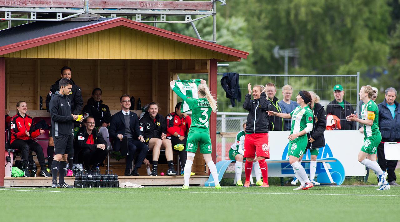 25 juni, Kvarnsveden-HIF 3-3 Andra 3-3-bortamatchen i följd, med en betydligt bittrare eftersmak än vid den i Göteborg. Hammarby chockade Borlänge-publiken då de tre första hörnorna gav tre nickmål, på 14 minuter i början av första halvlek – Lindberg som firade med att lyfta Sadikus tröja, Ekblom och Zigiotti slog till. Men man lyckades inte stå emot överlägsna skyttedrottningen Tabitha Chawinga. Malawiskan reducerade innan paus, och hennes nästa mål innebar ett likaläge som sedan stod sig.