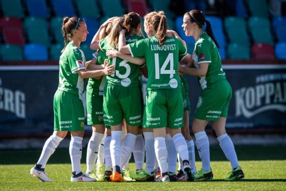 180421 Hammarbys spelare jublar efter 1-1-målet under fotbollsmatchen i Damallsvenskan mellan Kopparbergs/Göteborg och Hammarby den 21 april 2018 i Göteborg. Foto: MATHIAS BERGELD / BILDBYRÅN / Cop 200