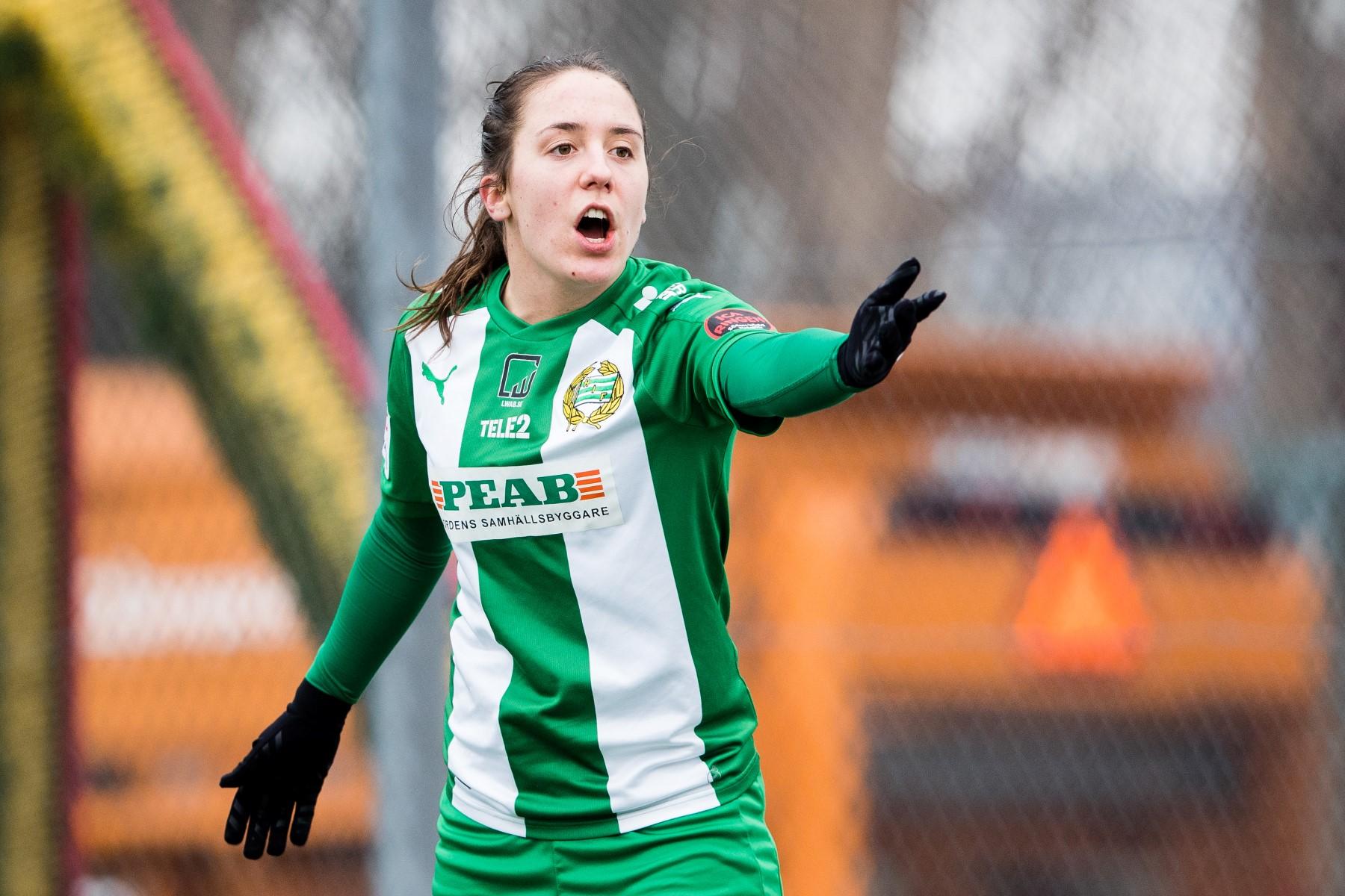 180311 Hammarbys Alma Nygren reagerar under fotbollsmatchen i Svenska cupen mellan Hammarby och Örebro den 11 mars 2018 i Stockholm.  Foto: Andreas L Eriksson / Bildbyrån / kod AE / Cop 106