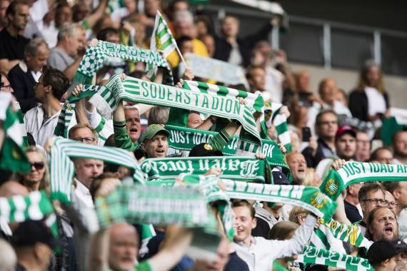 170724 Hammarbys supportrar under fotbollsmatchen i Allsvenskan mellan Hammarby och Elfsborg den 24 juli 2017 i Stockholm.  Foto: Andreas L Eriksson / BildbyrŒn / kod AE / Cop 106