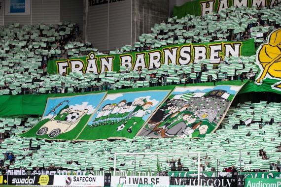 170910 Hammarbys supportrar med ett TIFO innan fotbollsmatchen i Allsvenskan mellan Hammarby och AIK den 10 september 2017 i Stockholm.  Foto: Andreas L Eriksson / Bildbyrån / kod AE / Cop 106