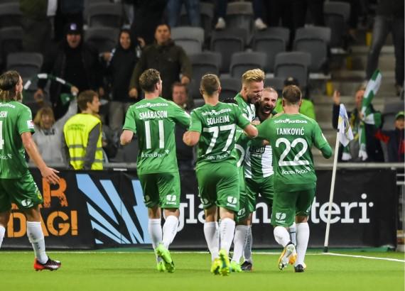 170920 Hammarbys Kennedy Bakircioglu jublar efter 1-1 under fotbollsmatchen i Allsvenskan mellan Hammarby och IFK Gšteborg den 20 september 2017 i Stockholm. Foto: Johanna Lundberg / BILDBYRN / kod JL / 135883