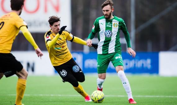 180210 Hammarbys Simon Sandberg under trŠningsmatchen i fotboll mellan Frej och Hammarby den 10 Februari 2018 i Stockholm.  Foto: Kenta Jšnsson / BILDBYRN / Cop 210