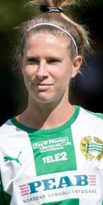 180630 Hammarbys Elise Kellond-Knight under lineup infšr fotbollsmatchen i Damallsvenskan mellan Hammarby och RosengŒrd den 30 juni 2018 i Stockholm. Foto: Tobias Sterner / BILDBYRN /