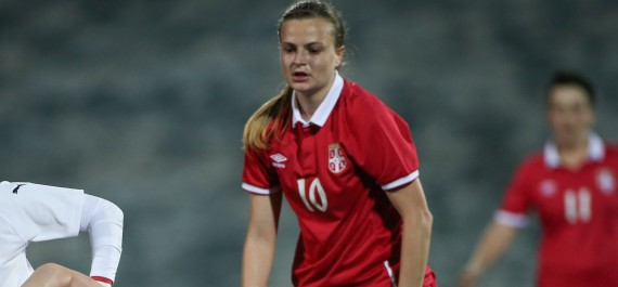 180405, Fotboll, Dam, VM-kval, Österrike - Serbien: MARIA ENZERSDORF,AUSTRIA,05.APR.18 - WOMEN SOCCER - FIFA Womens World Cup 2019, qualification, Austria vs Serbia. Image shows Nicole Billa (AUT), Violeta Slovic (SRB) and Milica Mijatovic (SRB). Photo: GEPA pictures/ Mario Kneisl © Bildbyrån - COP 81 - SWEDEN & NORWAY ONLY