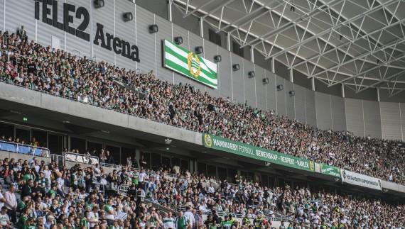 180902 Hammarbyfans i Tele2 Arena under fotbollsmatchen i Allsvenskan mellan Hammarby och Djurgården den 2 september 2018 i Stockholm. Foto: Dennis Ylikangas / Bildbyrån / Cop 253