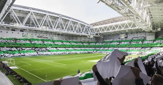 170409 Hammarbys supportrar med ett tifo inför fotbollsmatchen i Allsvenskan mellan Hammarby och Kalmar den 9 April 2017 i Stockholm.  Foto: Kenta Jönsson / BILDBYRÅN / Cop 210